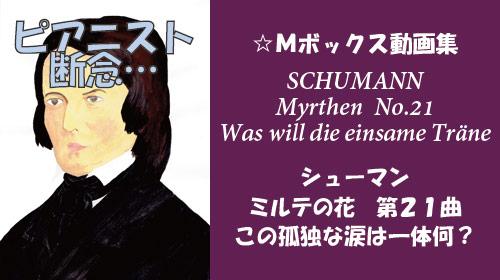 シューマン ミルテの花 第21曲 この孤独な涙は一体何?